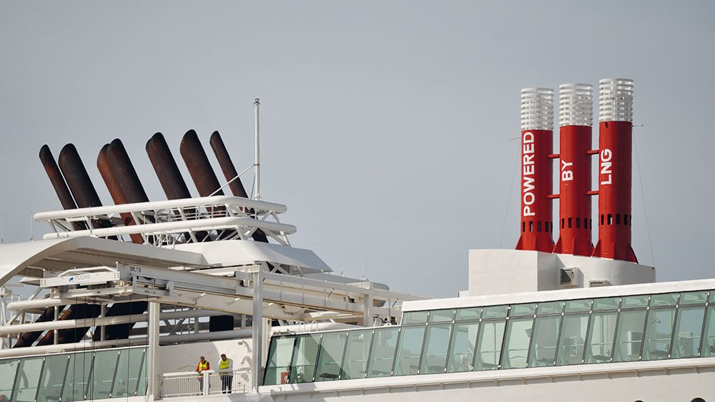 MS Stavangerfjord: the funnels and the emergency vent for the LNG tanks