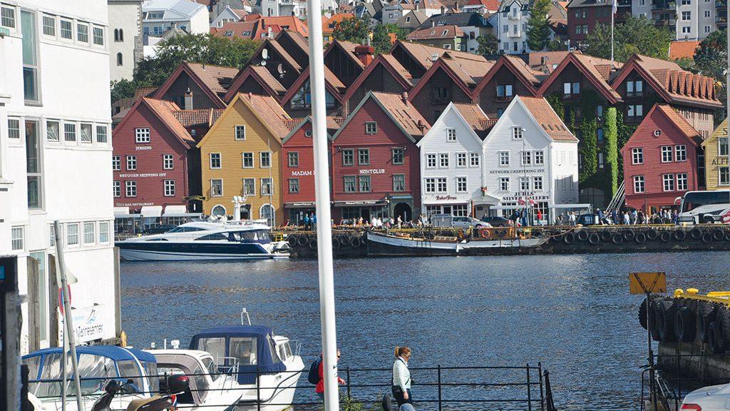 Restored house fronts in Bergen