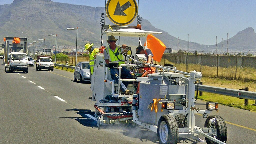 Road marking work